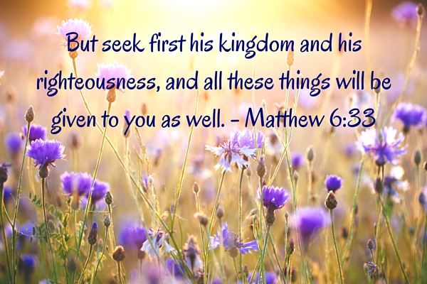 But seek first his kingdom and his righteousness, and all these things will be given to you as well. - Matthew 6-33