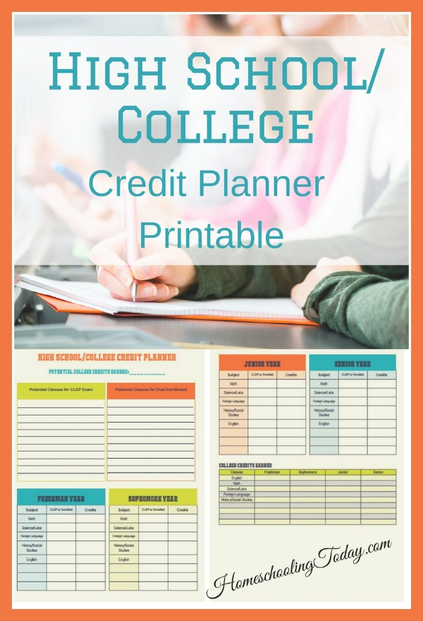 High school/college credit planner printable