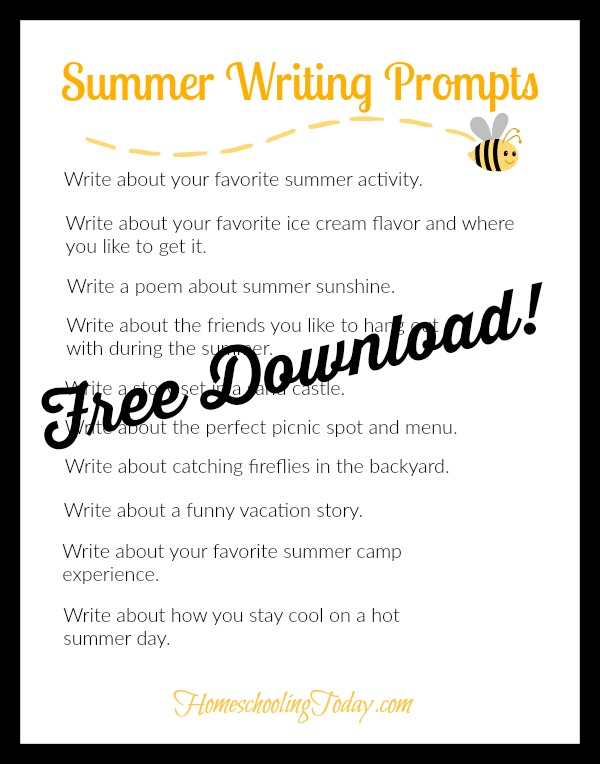 summer writing prompt printable - Homeschooling Today Magazine