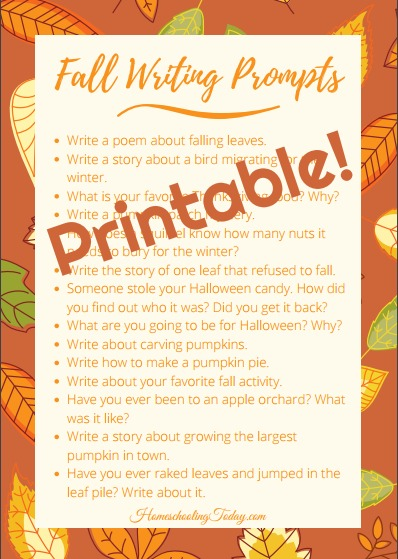 Fall writing prompts printable - Homeschooling Today