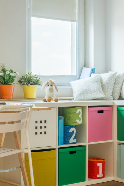 kids desk with plants on it and storage cubes