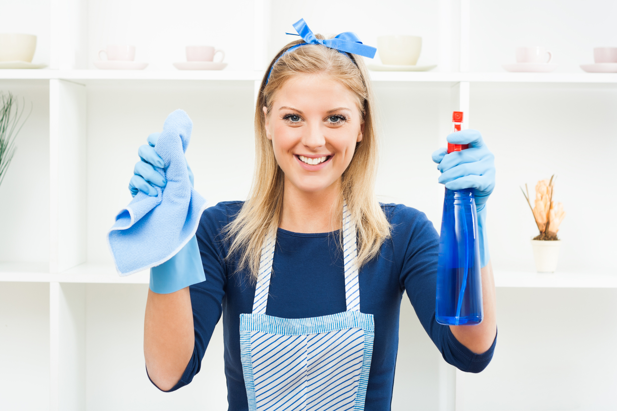 Woman dressed in apron with a bottle of cleaner in one hand and a rag in the other