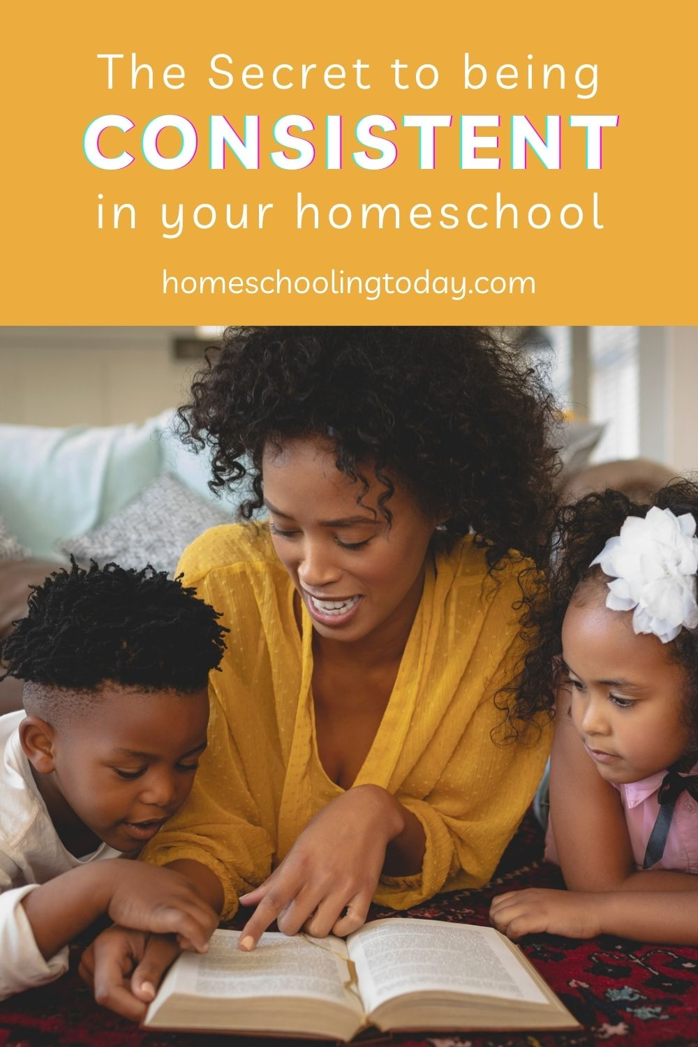 Pinterest pin of a mom with a boy and girl reading a book