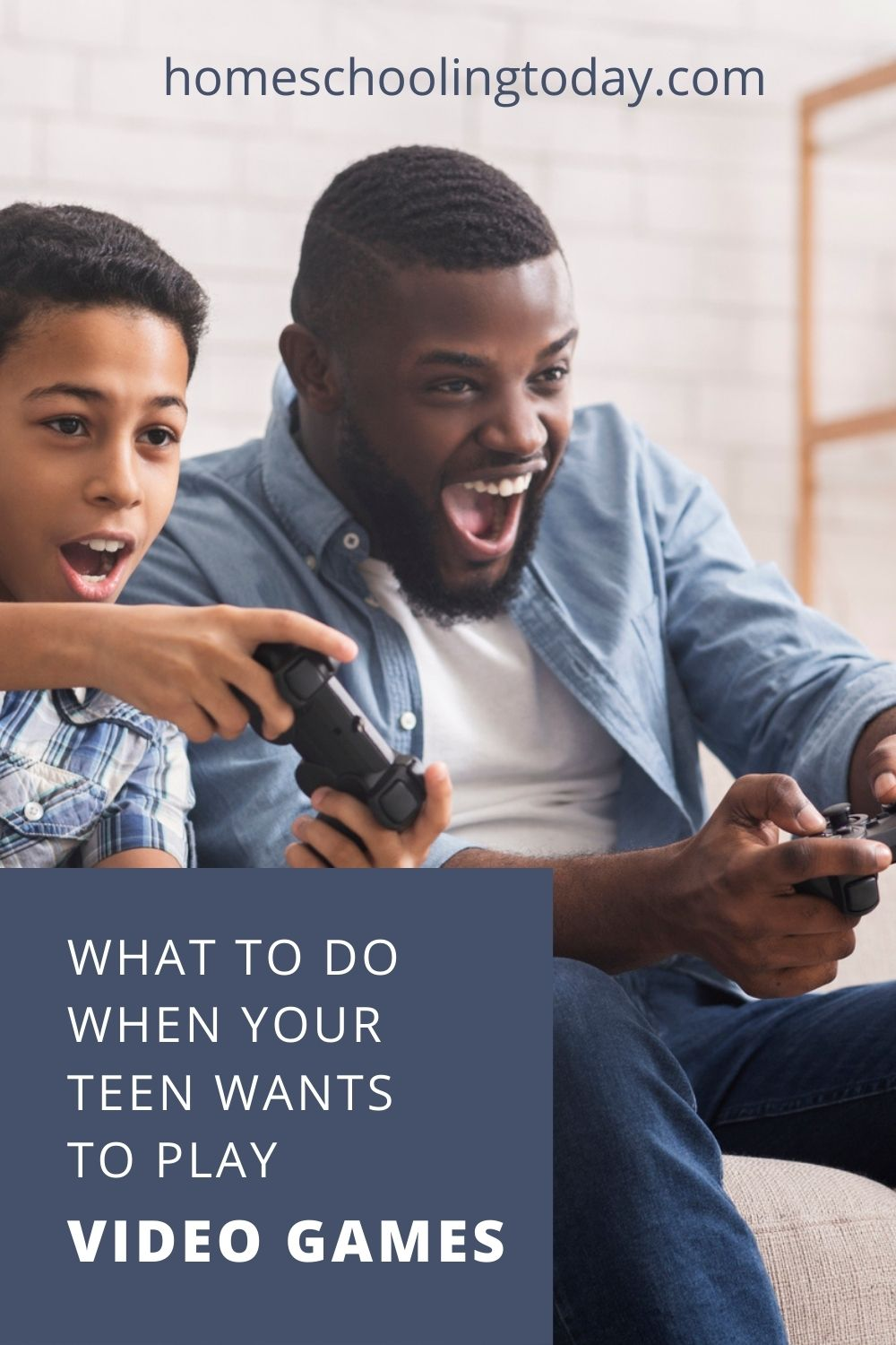 Pinterest pin showing a father and son playing video games together
