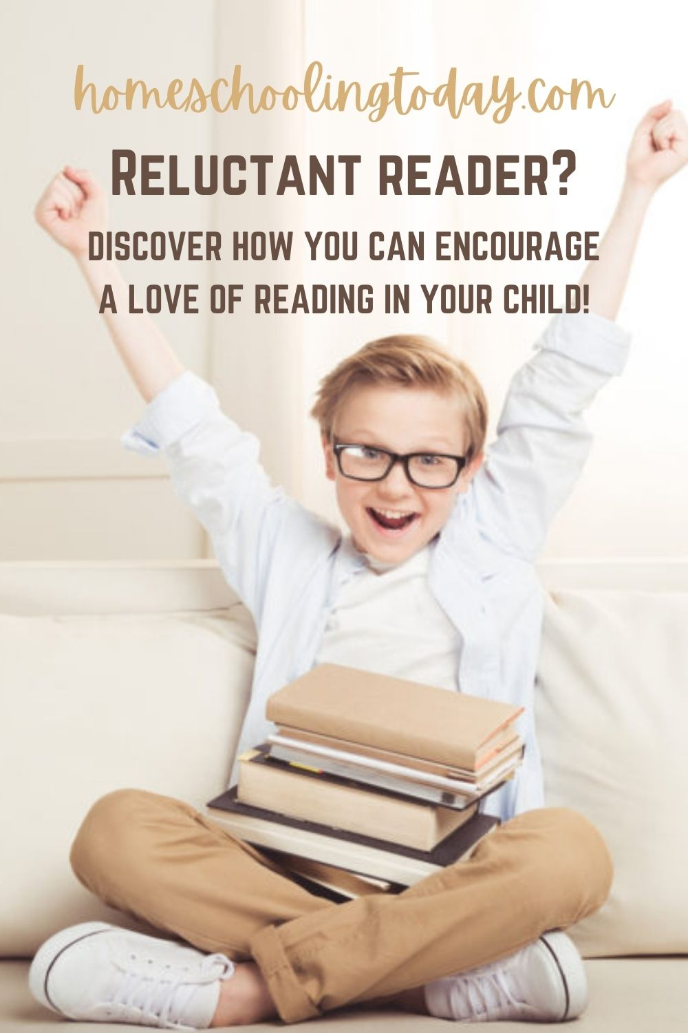 Pinterest image boy excited about reading