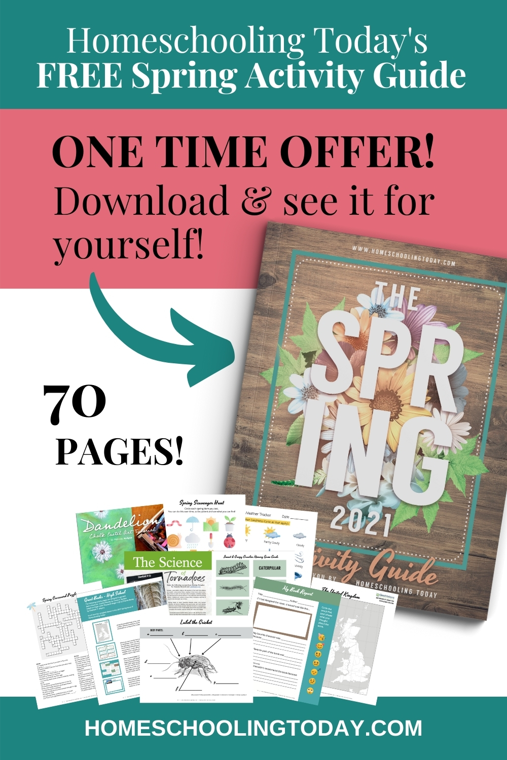 Pinterest pin offer for free spring activity guide