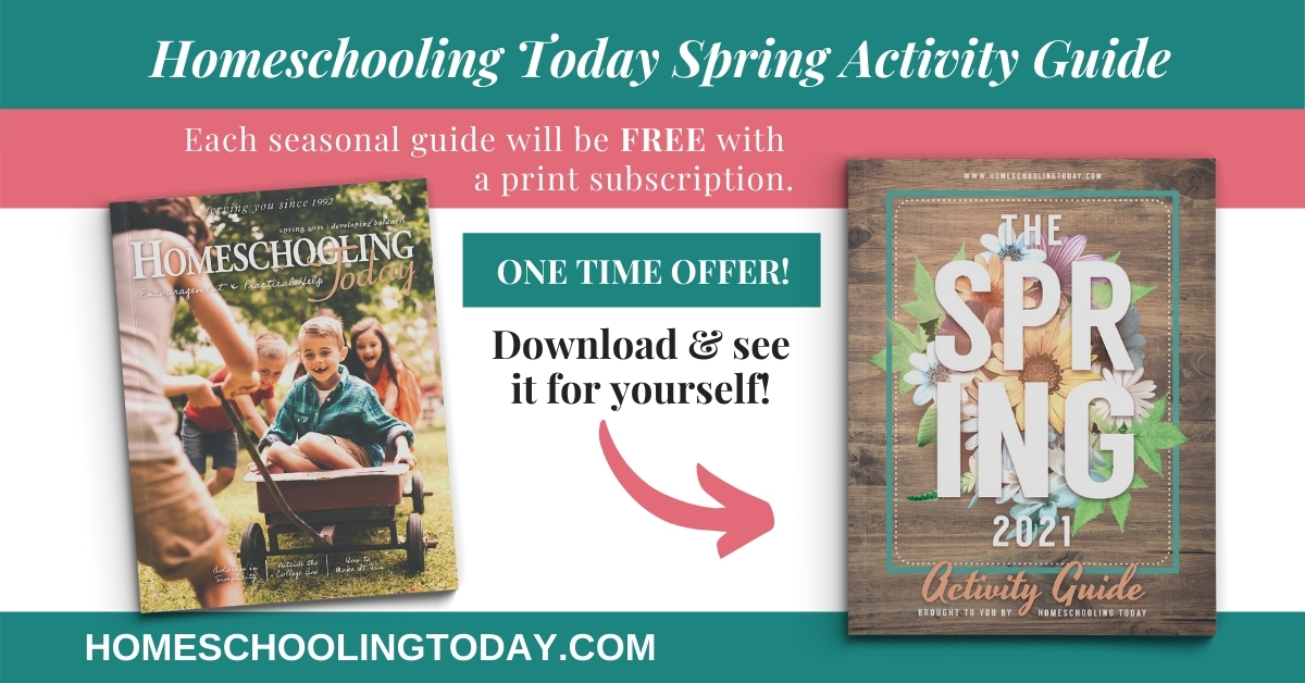 Graphic for free spring activity guide offer showing cover of magazine and guide